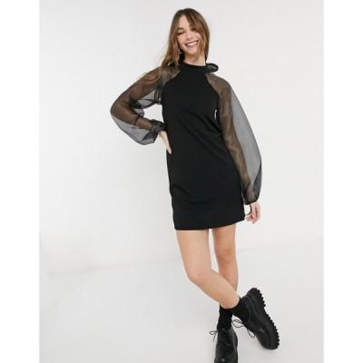 ピーシーズ Pieces レディース ワンピース ミニ丈 ワンピース・ドレス Mini Dress With Organza Sleeves And Bow Back In Black ブラック
