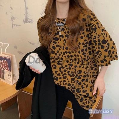 Tシャツ レディース 半袖 夏 韓国ファッション 原宿系 BF風 ヒョウ柄 港風 ファション 体型カバー 着痩せ カジュアル カップル服