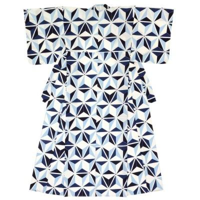 レディース浴衣 bonheur saisons 白系 オフホワイト 青 ブルー 麻の葉 綿 紅梅 夏祭り 女性用 仕立て上がり