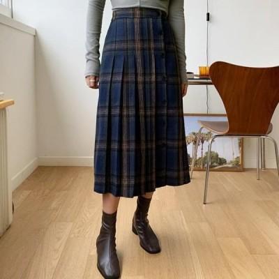 ENVYLOOK レディース スカート Ben check wrinkle skirt