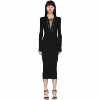 バルマン Balmain レディース ワンピース Vネック レースアップ ミドル丈 ワンピース・ドレス Black Lace-Up V-Neck Midi Dress Black