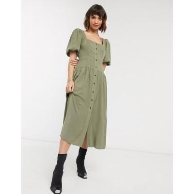 エイソス ミディドレス レディース ASOS DESIGN button through midi tea dress with puff sleeves in khaki エイソス ASOS カーキ