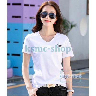 コットンTシャツVネックTシャツT-shirt Tシャツ大きいサイズ 半袖スウェット レディースクルーネック短袖ティシャツ白鳥刺繍トップス カットソー