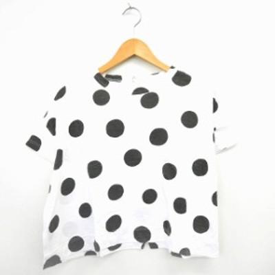 【中古】リーフクリップ LEAF CLIP Tシャツ カットソー 水玉 ドット柄 丸首 半袖 コットン 綿 ホワイト グレー 白 /MT