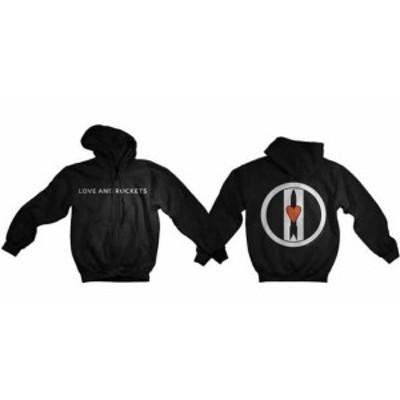 ファッション トップス Love & Rockets-Logo Discharge-X-Large Black Hooded Sweatshirt