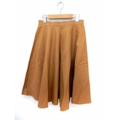 【中古】シンプリシテェ Simplicite スカート 膝丈 フレア ウエストゴム シンプル F 茶 ブラウン /ST36 レディース