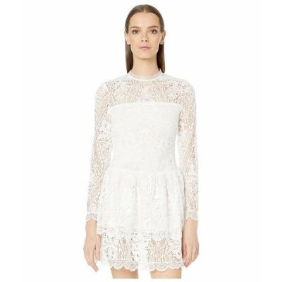 MLモニックルイラー ワンピース トップス レディース Long Sleeve Dress with Scalloped Hem Detail White