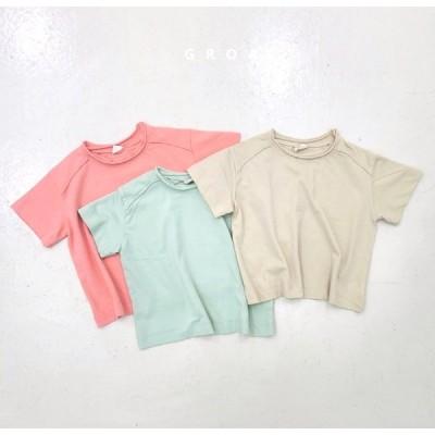 GROA ソフトカラーデザインヴィンテージTシャツ-ミント-M/100cm