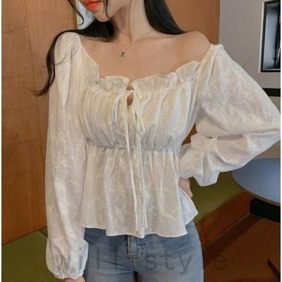 レースブラウスペプラム刺繍花柄フリル韓国オルチャン原宿系フレアオフショルかわいいトップスシャツ長袖