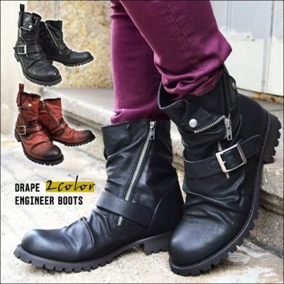 エンジニアブーツ ワークブーツ 靴 メンズ ブーツ ドレープ ブーツ ロングブーツ サイドジッパー ウエスタンブーツ ベルト シューズ 2021 冬