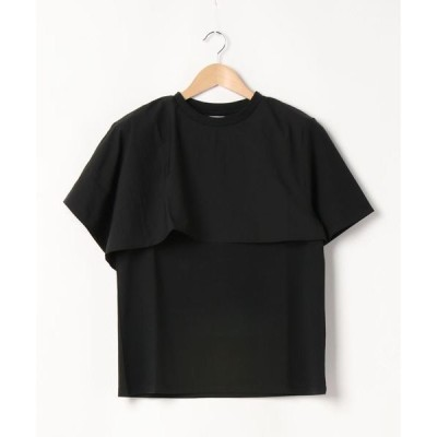 tシャツ Tシャツ アシンメトリー ケープ風 デザイン 異素材Tシャツ