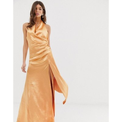エイソス ミディドレス レディース ASOS DESIGN halter maxi dress in high shine satin with drape neck エイソス ASOS