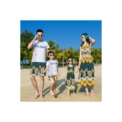 ワンピース レディースTシャツ メンズ  Tシャツショートパンツキッズ 親子ペアルックご家族お揃い 海旅行  部屋着 記念日  プレゼント