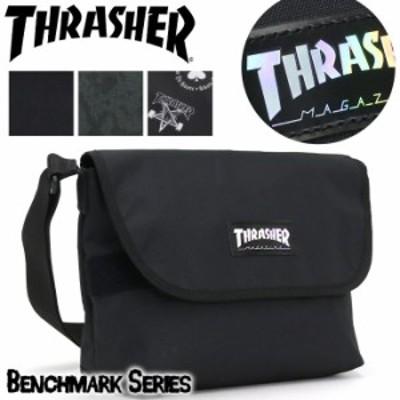 ショルダーバッグ THRASHER スラッシャー メンズ ショルダー ホログラム レディース 男女兼用 ななめ掛け フラップ かぶせ ブラック 黒