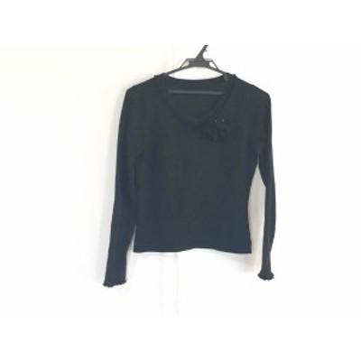 フランコフェラーロ FRANCO FERRARO 長袖セーター サイズ2 M レディース - 黒 Vネック/フラワー(花)【中古】20200813