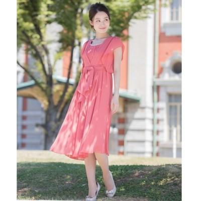 ドレス 【Cupid Heart】結婚式、二次会におすすめドレス♪フレアスリーブリボン風ベルトミモレ丈ワンピース