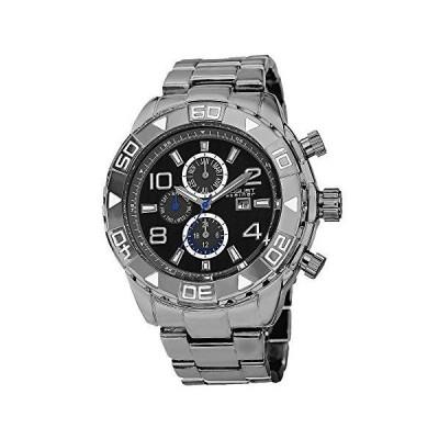 August Steiner Men's Multifunction Swiss Watch - 3 Subdials with Date Window Wavy Dial Pattern On Heavy Stainless Steel Bracelet - AS8130 並行輸入