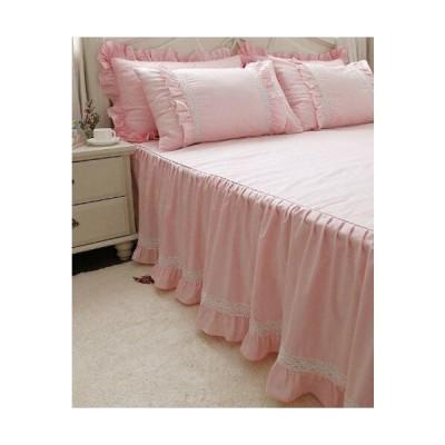 無地 洗える ホワイトレース付き 可愛いフリル模様 ピンクのベッドスカート シングル