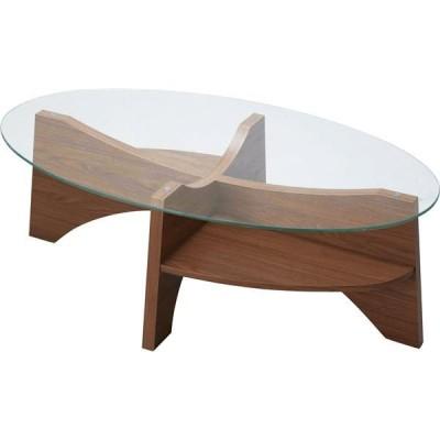 オーバル型 ガラステーブル/ローテーブル 〔ウォールナット 幅105cm〕 強化ガラス天板 〔リビング ダイニング〕