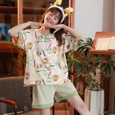 部屋着 レディース ルームウェア セットアップ ナイトウェア パジャマ かわいい  夏新作 半袖 Tシャツ ハーフパンツ ショートパンツ ワンピース