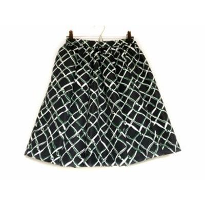 エムエスジィエム MSGM スカート サイズ40 M レディース 黒×グリーン×白【中古】20201118