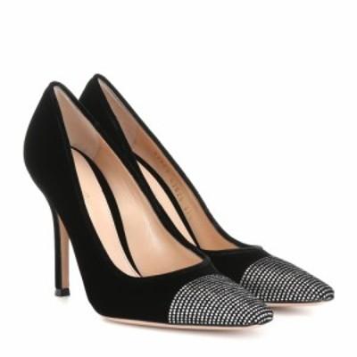 ジャンヴィト ロッシ Gianvito Rossi レディース パンプス シューズ・靴 Crystal-embellished velvet pumps black crystals