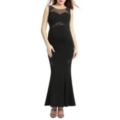 キミアンドカイ ワンピース トップス レディース Corinne Lace Trim Maternity Mermaid Gown Black