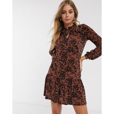 オアシス レディース ワンピース トップス Oasis leopard print drop waist dress in brown