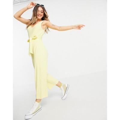 モンキ Monki レディース オールインワン ジャンプスーツ ワンピース・ドレス Sandra Organic Cotton Ribbed Jersey Wide Leg Jumpsuit In Yellow イエロー