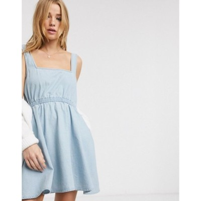 エイソス レディース ワンピース トップス ASOS DESIGN soft denim square neck skater dress in lightwash blue