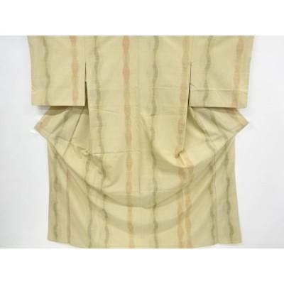 リサイクル よろけ縞模様織り出し手織り節紬着物