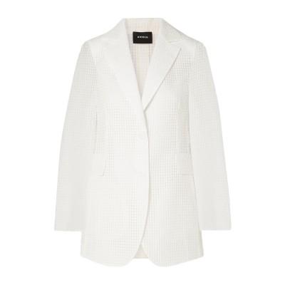 アクリス AKRIS テーラードジャケット ホワイト 4 コットン 81% / ポリエステル 19% / シルク(マルベリーシルク) テーラードジャ
