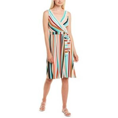 ドナモーガン レディース ワンピース トップス Donna Morgan Faux Wrap Dress fresh green and pink combo stripe
