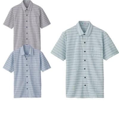 シニア服 80代 70代 60代 メンズ 紳士服 高齢者 おじいちゃん 麻混 スナップボタン ボーダー柄 半袖 ニットシャツ