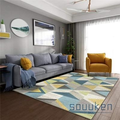 カーペット 長方形 100×160cm 北欧風 幾何 滑り止め ラグ ラグマット おしゃれ 現代 床暖房対応 防ダニ 防音