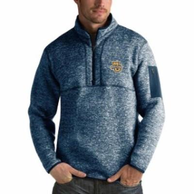 Antigua アンティグア スポーツ用品  Antigua Marquette Golden Eagles Heathered Navy Fortune 1/2-Zip Pullover Sweater