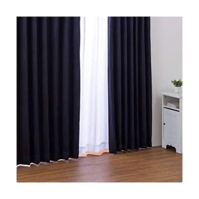 カーテン 形状記憶加工 1級遮光カーテン フルダル 無地 ブラック 幅100cm×丈110cm 2枚入