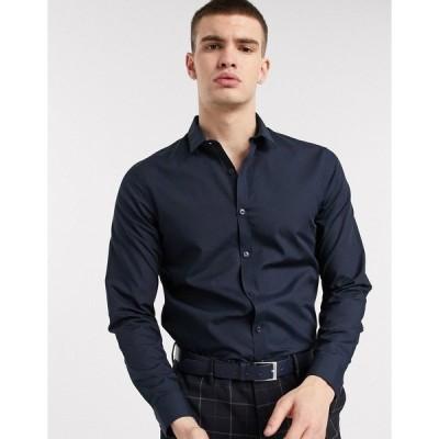 ニュールック メンズ シャツ トップス New Look long sleeve poplin shirt in navy Navy