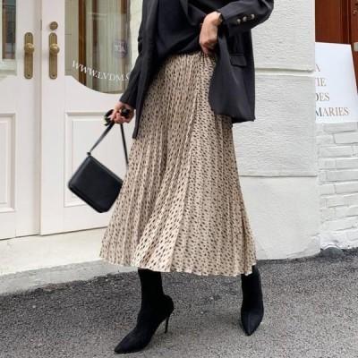 ENVYLOOK レディース スカート Semi Leopard Pleated Long Skirt