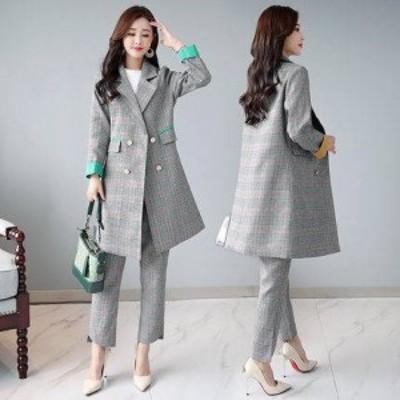 新作 人気 かっこいいパンツドレス チェスターコート チェック セットアップ ジャケット 冬ジャケ パンツスーツ アウター 大きいサイズ 1