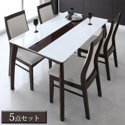 ダイニングテーブルセット 5点 / 幅135 鏡面 おしゃれ ホワイト 白 4人用 135 モダン 北欧 p1