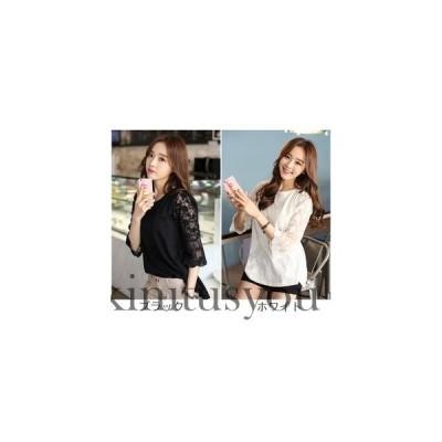 シャツ  ゆったりトップス KL ゆったりTシャツ 七分袖  無地 韓国ファッション レディース 女 誕生日
