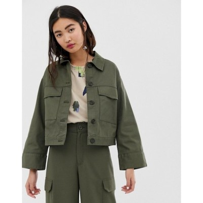 エイソス レディース  ジャケット・ブルゾン アウター ASOS Monki cropped utility jacket in khaki