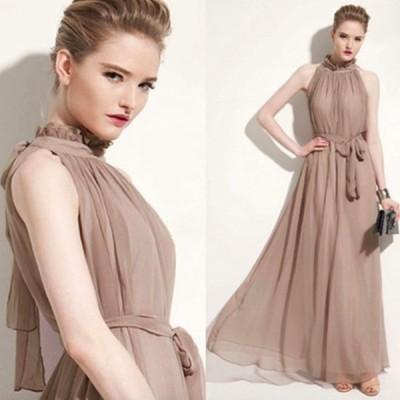 シフォン ワンピース ドレス ハイネック ノースリーブ ロングドレス バックリボン 体型カバー エレガント フォーマル パーティー