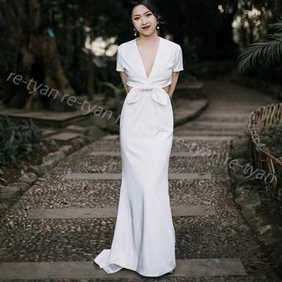 ウエディングドレス マーメイドライン半袖 白 エンパイア シンプル 花嫁ドレス 披露宴 フォトウエディング  前撮り後撮り 二次会 パーティードレス カラードレス