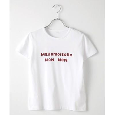 Mademoiselle NONNON/マドモアゼルノンノン 【WEB限定】定番天竺Tシャツ シロ×アカ M