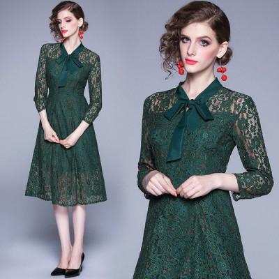 結婚式 レースドレス お呼ばれ グリーン 総レースワンピース 緑 レース ドレス 成人式 同窓会ドレス 20代30代 膝下丈 可愛い