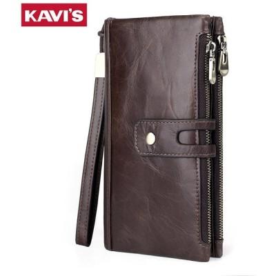 KAVIS 100% 本革メンズ財布男性クラッチコイン財布 Walet Portomonee Rfid ポートフ Coffee-L