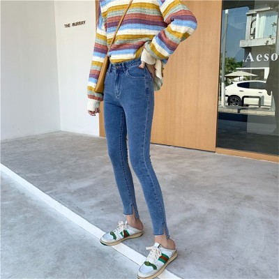 [55555SHOP]細身効果抜群!おしゃれ シンプル ジーンズ 美脚 ズボンの前にある短いロングスプリット パンツ デニムパンツ レディース 見なきゃ損する!