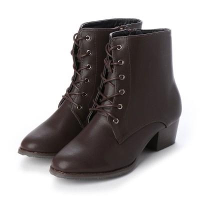 マシュガール masyugirl 【3E/幅広ゆったり・大きいサイズの靴】 シンプルレースアップブーツ (ダークブラウン) SOROTTO